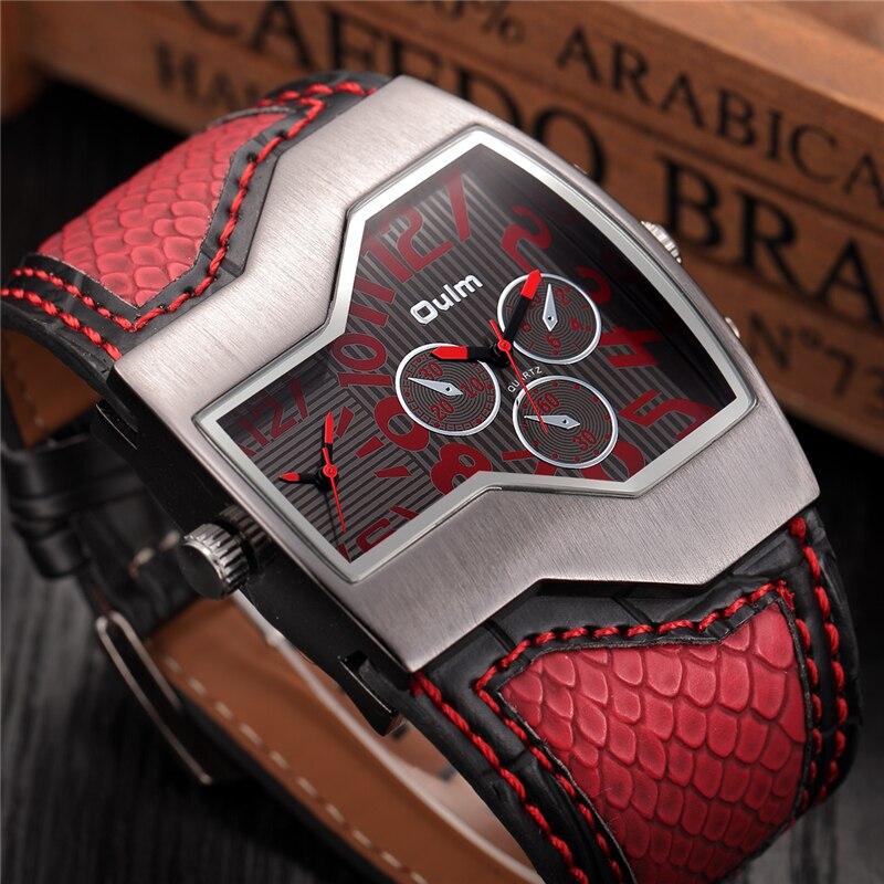 Oulm relógios de quartzo masculinos, marca de luxo, dupla, mostrador de tempo, pulseira de cobra, relógios esportivos casuais, horas, relógios masculinos