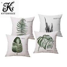 Декоративные наволочки с акварельным тропическим и зеленым принтом в виде банановых листьев, наволочки для подушки, чехлы для дивана, домашний декор