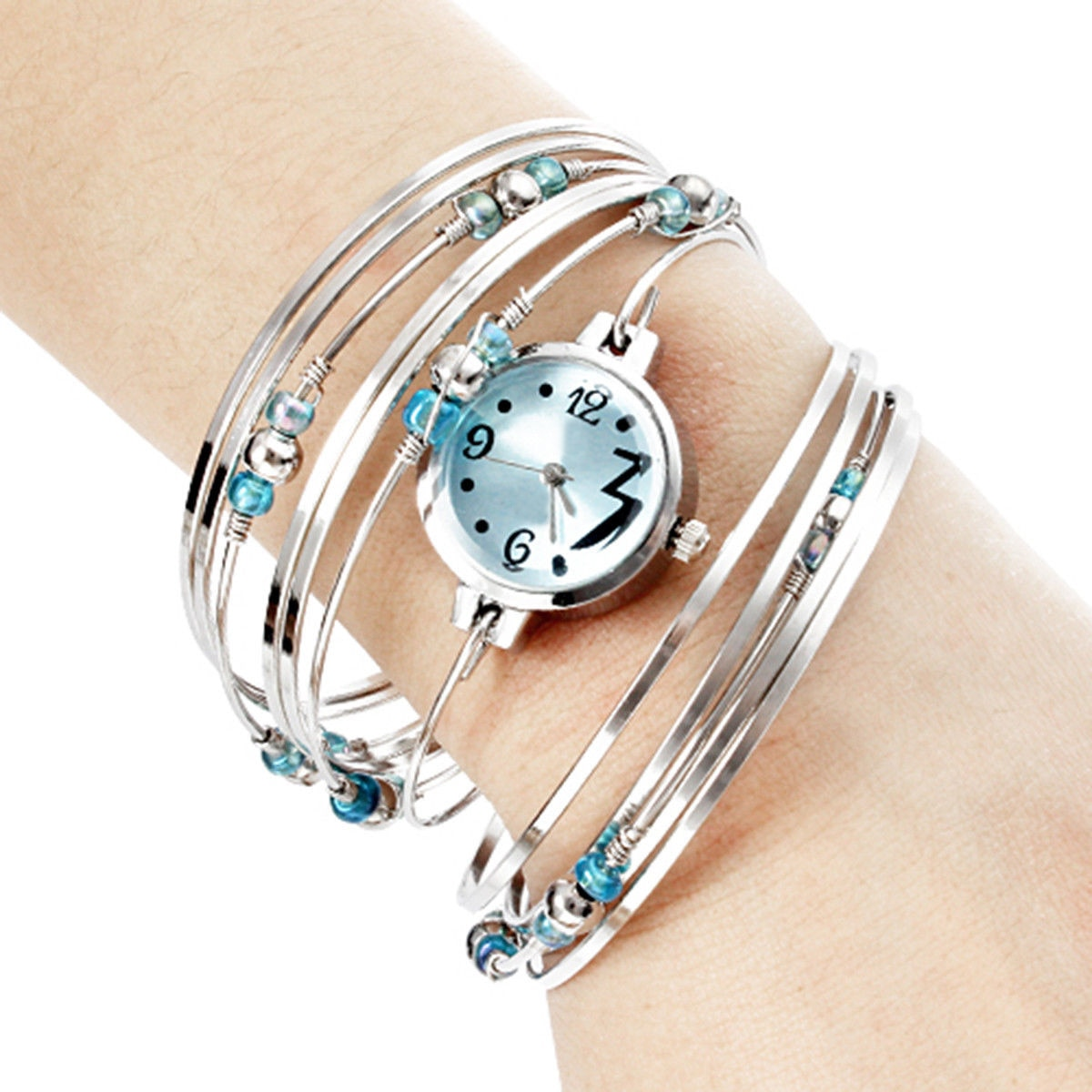 Wholesale Women's Silver Steel with Beads Quartz Analog Bracelet Watch Blue