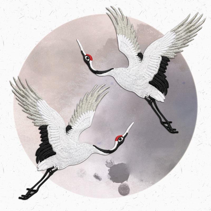 Милые крановые патчи для одежды, вышивка с аппликацией, вышивка с красным краном, Декор птиц, сделай сам, наклейки для одежды