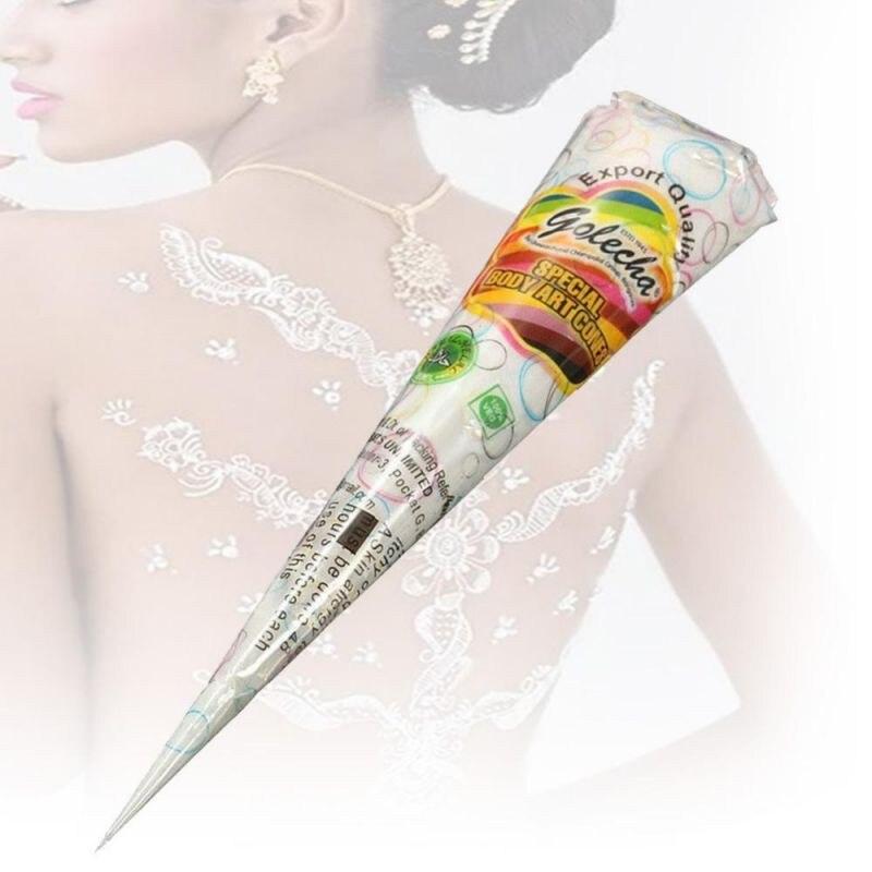 Cor preta Indiano Henna Colar Cone Mulheres Beleza Dedo Creme Para o Corpo Pintura DIY Temporária Desenho de Tatuagem Estêncil