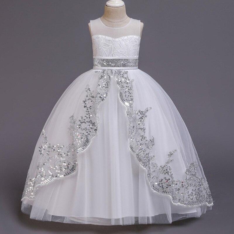 Novo estilo menina vestido de casamento flor dama de honra banquete segmentos mostrar vestido longo menina graduação loja festa vestido longo