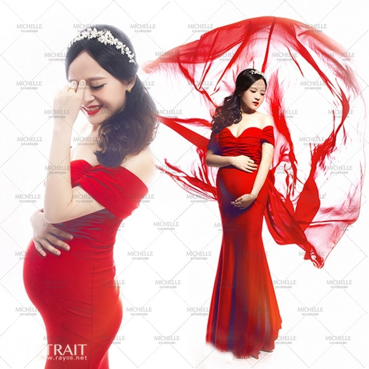 New Maternity pregnant women Photography Props Red Sexy Elegant Romantic Dress Noble Photo Shoot costume personal Baby shower enlarge