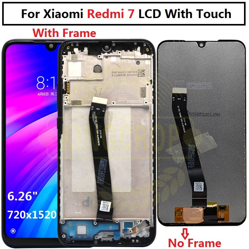 LCD Original de Xiaomi Redmi 7 De 6,26 pulgadas con pantalla de Marco + ensamblaje de digitalizador de Panel de pantalla táctil 1520*720, pantalla lcd Redmi7