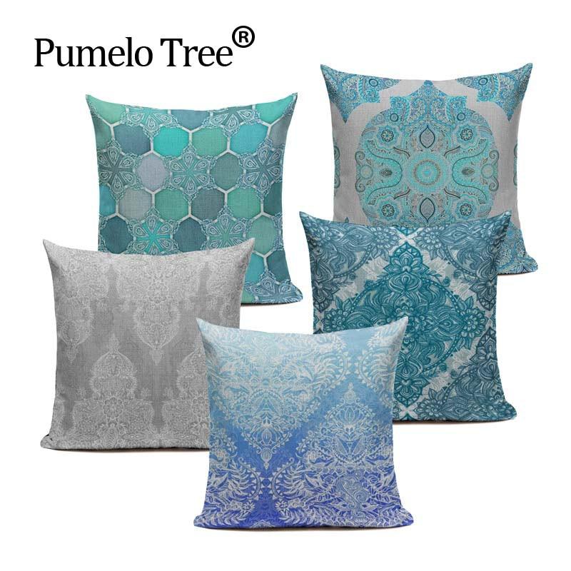 Bohemian Style Pillows Flower Mandala Cushion Cover Pillow Case Linen Pillow Covers Plant Sofa Car Seat Custom Decorative Pillow
