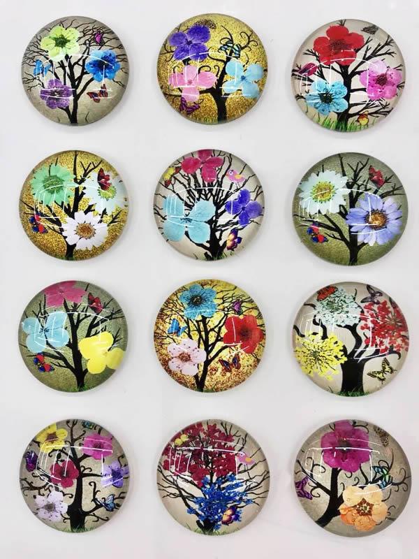 12mm moda variada flor gafas ovaladas cabujón plano foto camafeo imitación flor seca en pares 20 unids/lote K05415