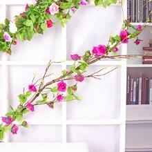 240cm faux soie Roses lierre vigne faux plantes fleurs artificielles pour mur maison mariage décoration suspendus guirlande décorative rotin