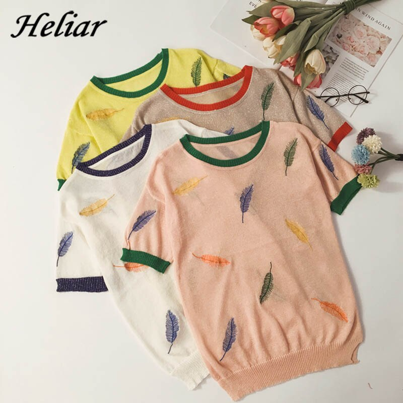 Camiseta HELIAR para mujer, verano 2020, elegante, para mujer, con plumas bordadas, de seda, de punto, Tops femeninos, camisetas holgadas informales para mujer