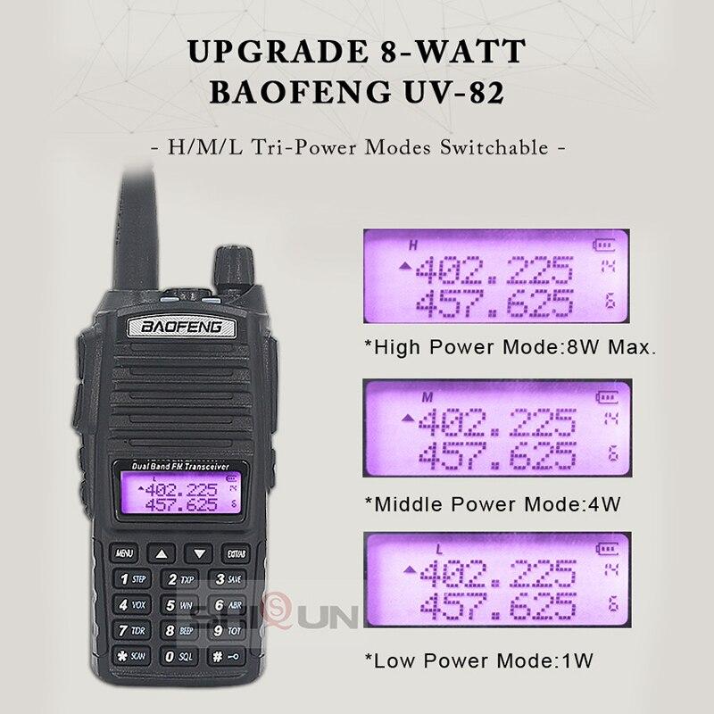 2 pcs, Baofeng-rdio de comunicao uv82,walkie talkie, 8w, opcional, 5w, dual ptt, duas vias, uhf, vhf, 10 km, cv enlarge