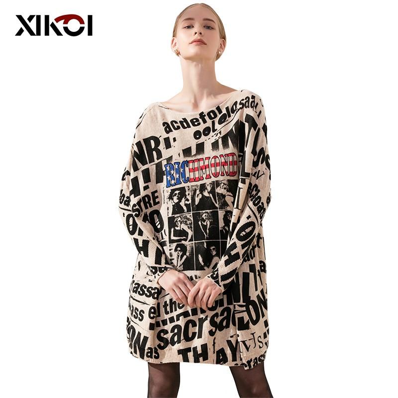 XIKOI/Повседневный длинный оверсайз женский свитер с рукавом «летучая мышь», черный с буквенным принтом, женские свитера, одежда, пуловеры, мо...