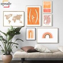 Moderne Abstrakte Galerie Wand Kunst Orange Regenbogen Welt Karte New York City Poster Skandinavischen Decor Wand Bilder für Wohnzimmer