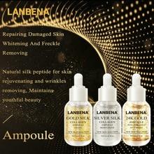 LANBENA or soie + argent soie + 24K or Ampoule sérum collagène Anti-âge éclaircir les taches hydratant blanchissant raffermissant soins de la peau