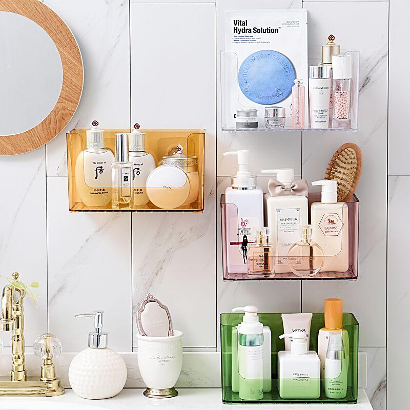 1 Uds caja de almacenamiento de cosméticos de escritorio creativa caja de plástico transparente con acabado máscara lápiz labial cuidado de la piel estante de tocador