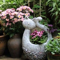 Sapo criativo vaso de flores do jardim do vintage gato estátua de decoração para casa artesanato vaso de flores varanda decoração objetos grandes vasos de chão