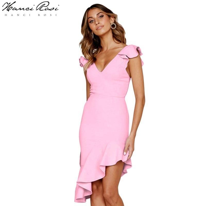 HANCI ROSI vestido de verano Zomer jurt Ruffles asimetría Vestido largo de Mujer Vestidos de Jurken Robe Longue sin mangas Streetwear