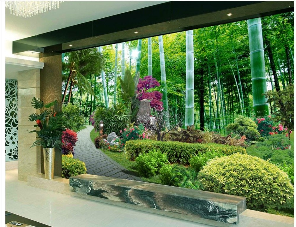 Papel pintado 3D FONDO DE TV papel tapiz el sofá de la sala de estar Fondo Mural de bambú Mural de jardín papel pintado