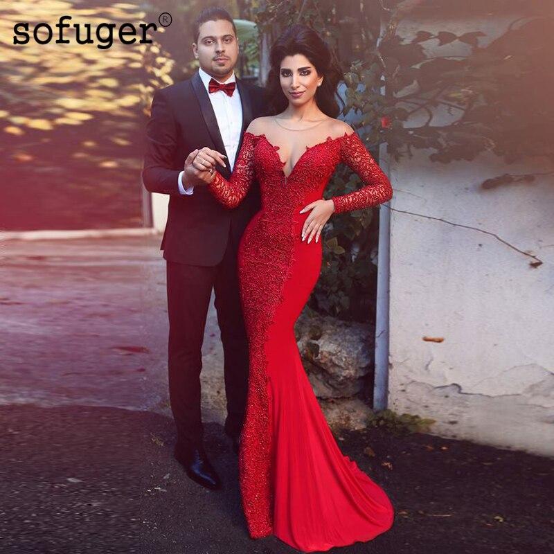 Vermelho sofuge camisa sereia manga comprida vestidos de noite árabe muçulmano ocasião especial robe de festa de noche