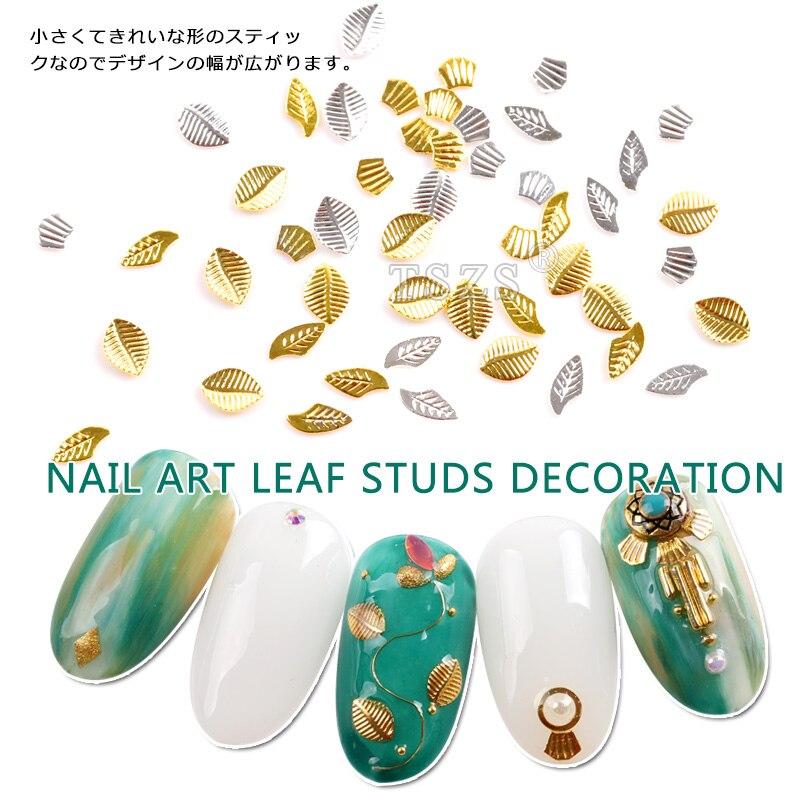 150 teile/los Neue Ankunft 3D Mini Metall Studs Niet Nagel Kunst DIY Dekoration Gold Silber Blatt Design