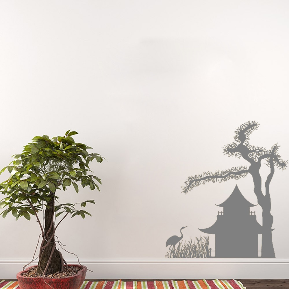 Arte japonés casa árbol pájaro pared vinilo adhesivo patrón calcomanías Mural Pared de salón diseño papel tapiz DIY extraíble PosterLC088