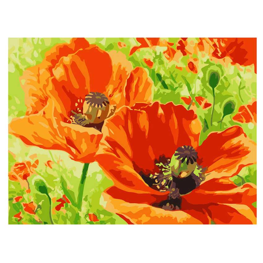 Cuadro de flores en flor WONZOM con números, cuadros de pintura al óleo, decoración acrílica, pintura sobre lienzo, Rosa moderna decoración del hogar de 9 tipos