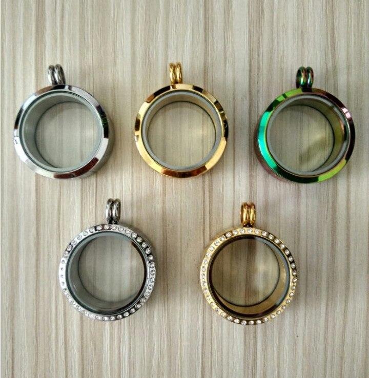 30MM cristales checos 316L Acero inoxidable memoria flotante medallón colgantes 6 estilos perlas magnéticas relicarios para bisutería de bricolaje SL001