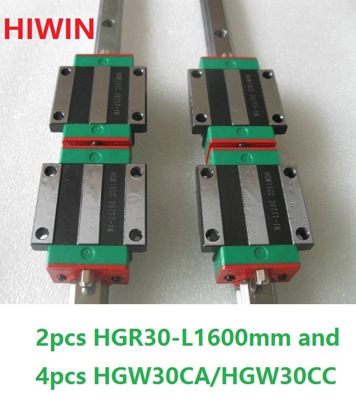 2 adet 100% orijinal Hiwin lineer ray HGR30-L 1600mm + 4 adet HGW30CA HGW30CC flanş taşıma cnc yönlendirici