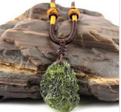 Hot Sale A++ Natural Moldavite green aerolites crystal stone pendant energy apotropaic7g-9g/ lot+ free rope Unique Necklace