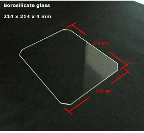 منصة طابعة ثلاثية الأبعاد من زجاج البورسليكات ، لوح بناء زجاجي لـ MK2/MK3 ، 214x214x4mm