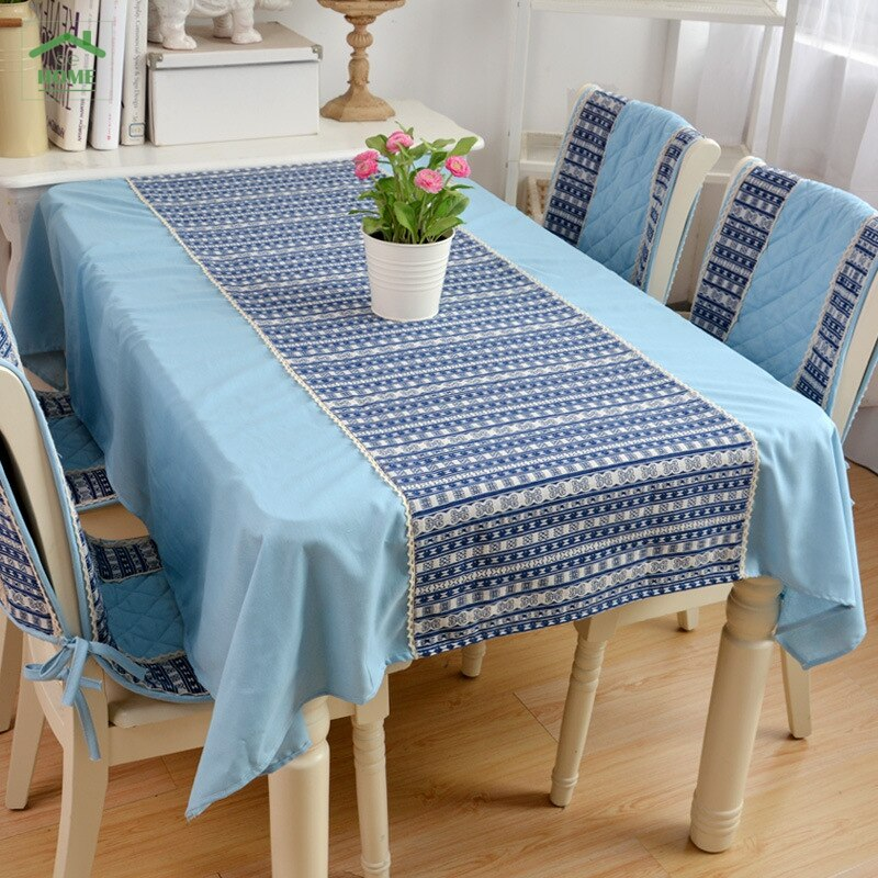 2016 Behome alta calidad Azul Egeo algodón rayado encaje manteles Mediterráneo chenille jacquard salvamanteles de lino