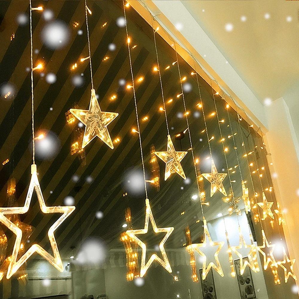 Moon Star Led Gordijn Lamp Fairy String Ins Kerst Fonkel Tuin Decoratie Vakantie Lichten Bruiloft Neon Lantaarn 220 V