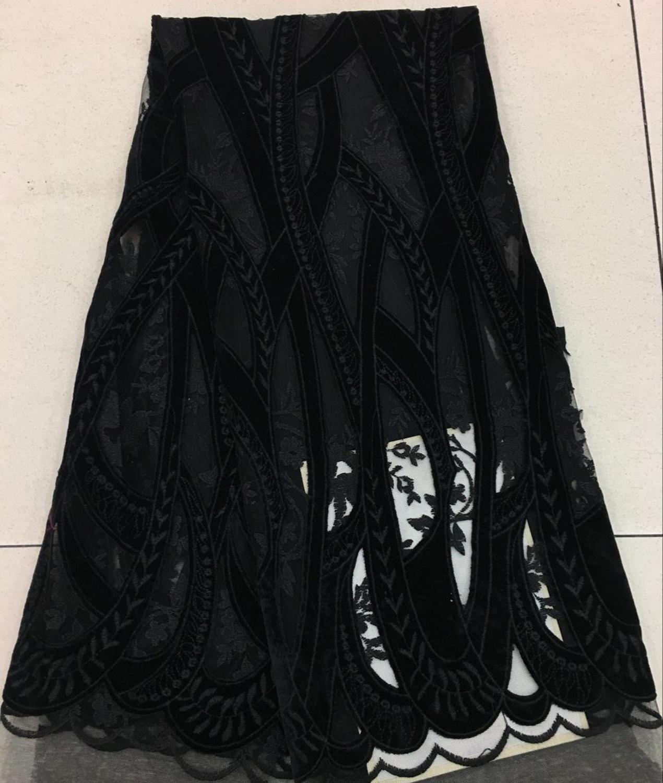 Recién llegado, gran flor de corte por láser, encaje velve/Cordón de terciopelo negro árabe/asoebi encaje, 5 yardas/lote para promociones/vestidos de noche/aso ebi
