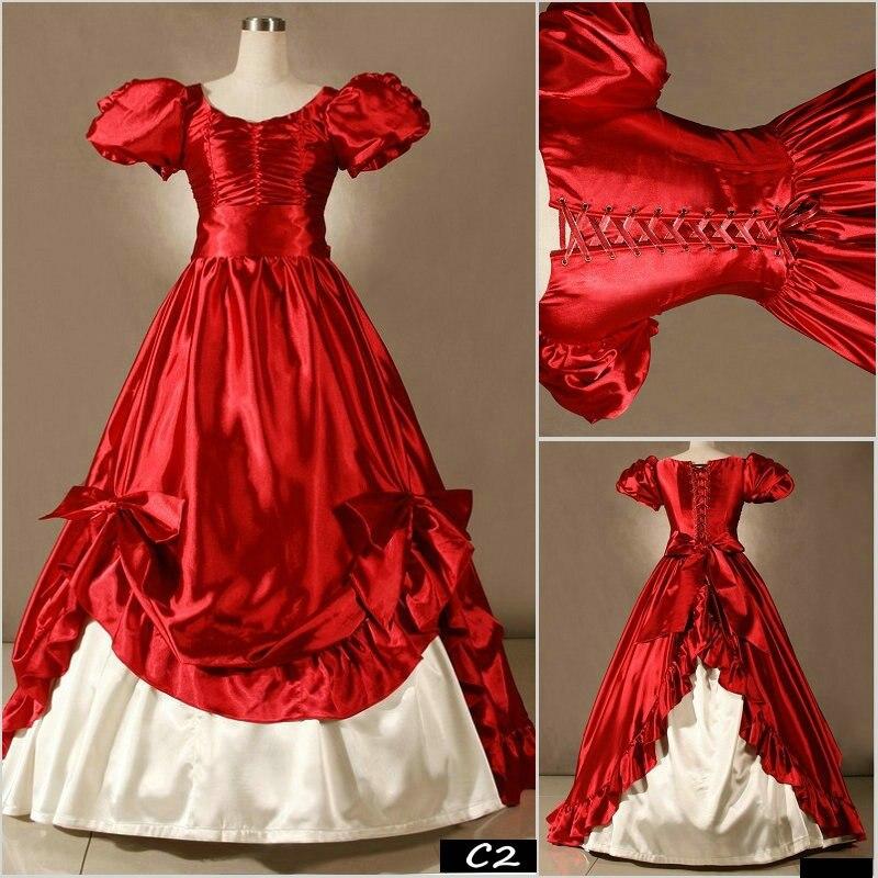 Envío gratis de marca elegante Vintage estilo Lolita rojo vestido con mangas puff Palacio victoriano gótico vestido mujeres Maxi Vestidos
