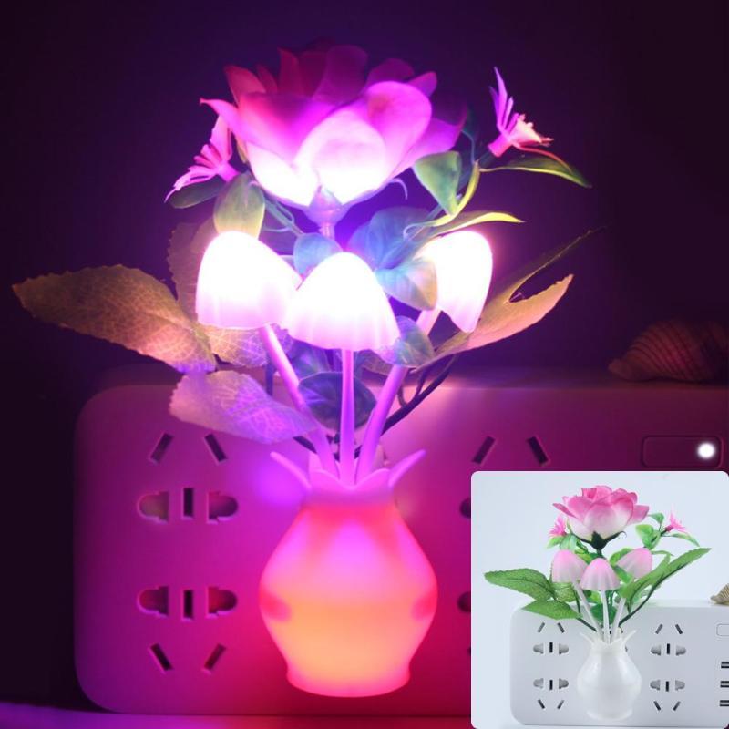 Luces LED de noche coloridas con flores, lámpara luminosa con Sensor de enchufe para EE. UU./UE, Sensor de decoración para dormitorio, lámpara nocturna, decoración de hogar romántica