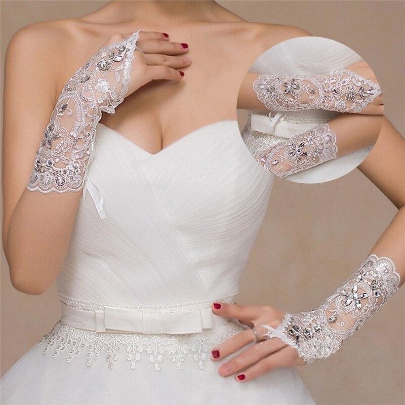 1 paar 2 stijlen wit / rood / beige bruidshandschoenen elegante korte - Bruiloft accessoires - Foto 4