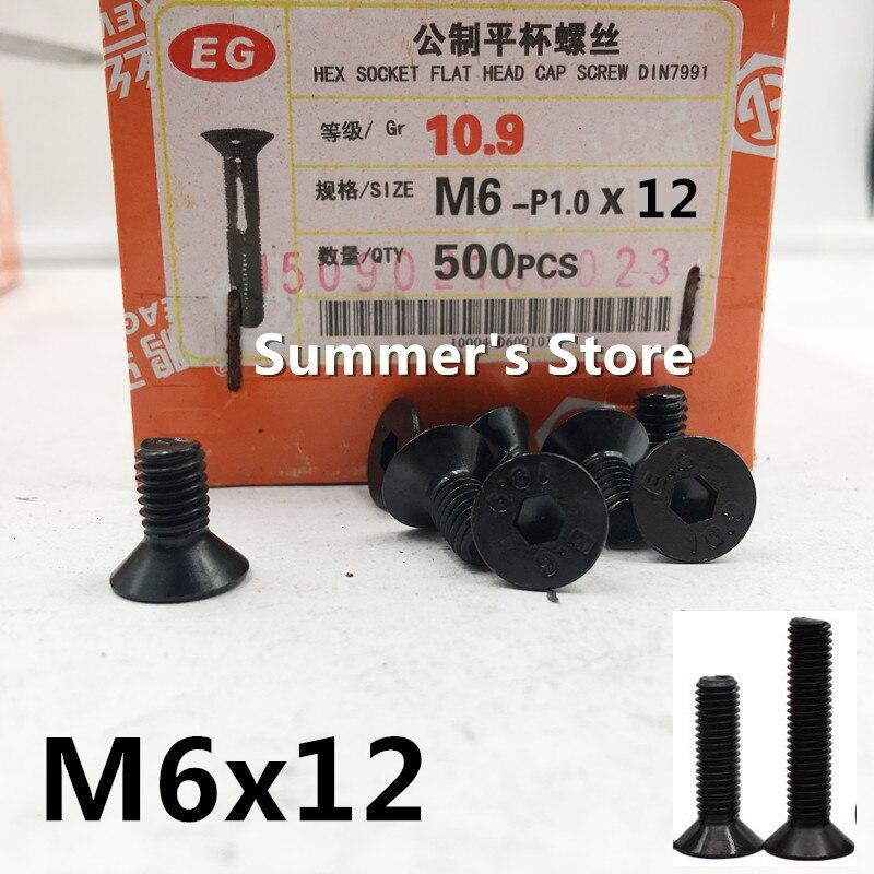 50 pçs/lote DIN7991 M6 * 12mm Aço Liga Hex Soquete Cap Parafusos de Cabeça Plana Escareados M6 * 12mm parafuso parafuso de cabeça preta Grau 10.9