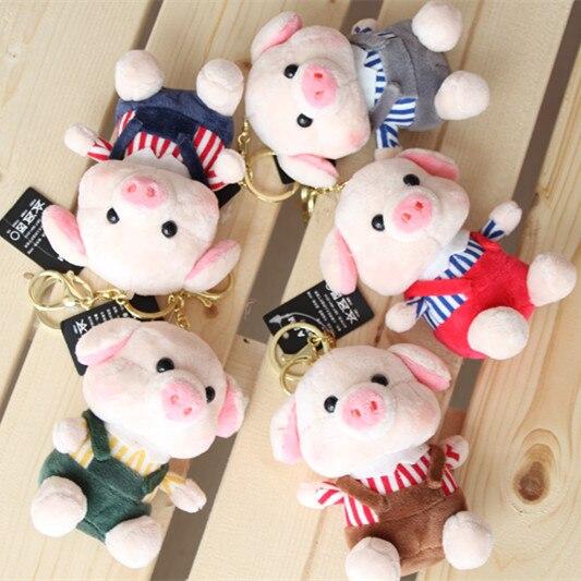 ¡Candice guo! Lindo juguete de felpa encantadores tirantes pantalones cerdo cerdito peluche muñeca llavero colgante cumpleaños regalo de Navidad 1 pc