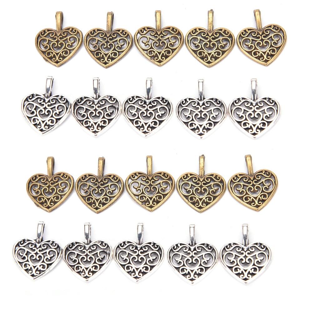 50pcs 16.5x14.5mm Hollow Filigree Heart Charms Antique Bronze Vintage Metal Zinc Alloy Trendy Heart Pendant For Jewelry
