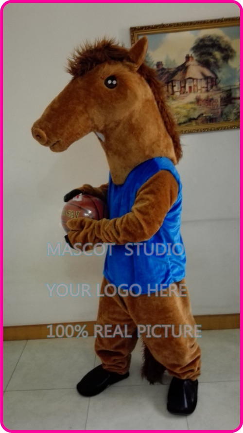 Disfraz de mustang de Mascota de caballo de baloncesto marrón disfraz de disfraz personalizado Tema de Cosplay Mascotte