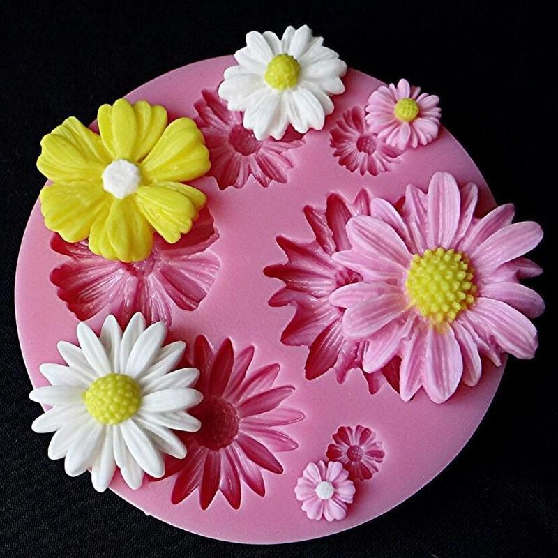Diy 3d flor fondant silicone moldes de bolo sugarcraft cozimento decoração ferramentas pastelaria para festa de natal