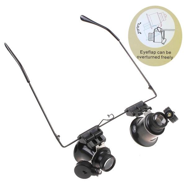 Купить с кэшбэком 20X LED Double Eye Repair Magnifier Glasses Mini Loupe Lens Magnifying Glass Light Watch Microscope Measurement Tools Eyewea