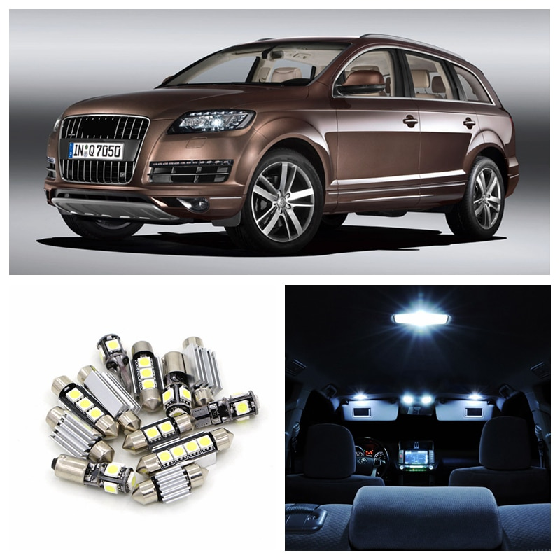 17pcs Canbus Car Error Free White LED Light Bulbs Interior Package Kit For 2005-2009 Audi Q7 Map Glove Box Trunk Door Lamp