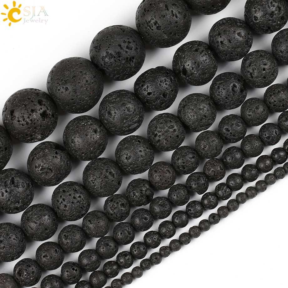 Бисер из черной лавы CSJA, сделай сам, для изготовления ювелирных изделий, круглый натуральный камень, 4, 6, 8, 10, 12, 14 мм, браслет из вулканическог...