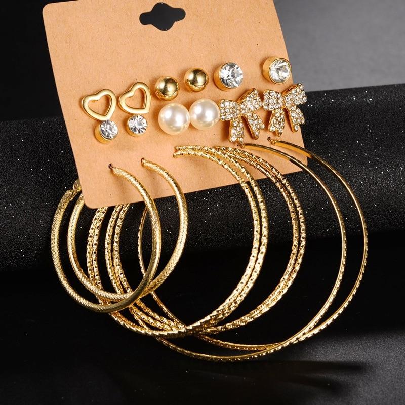 Nuevo conjunto de 9 par/set de pendientes de moda, conjunto de pendientes de perlas Steampunk con lazo de diamantes de imitación para mujer, conjunto de pendientes con pasantes, joyería mixta brincos
