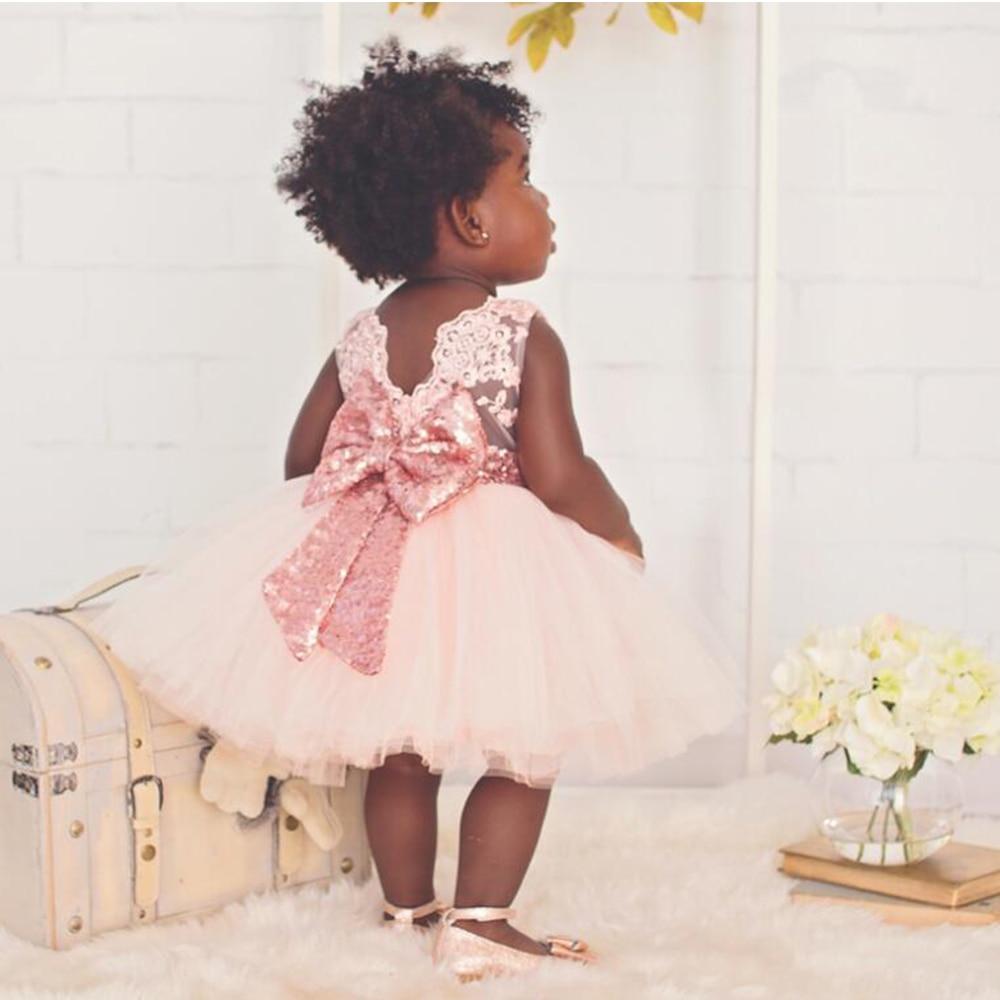 2017 Spring Summer Baby Girls Christening Gown Sequins Halter Dresses Newborn Baptism Bow Dress Infants 1 Year Birthday Dress