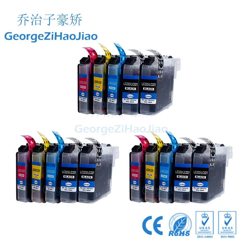 15 pcs 223XL Cartucho de Tinta Compatível para LC123 LC121 LC223 LC203 LC103 LC 563 para J4410DW MFC-J4510DW MFC-J4610DW