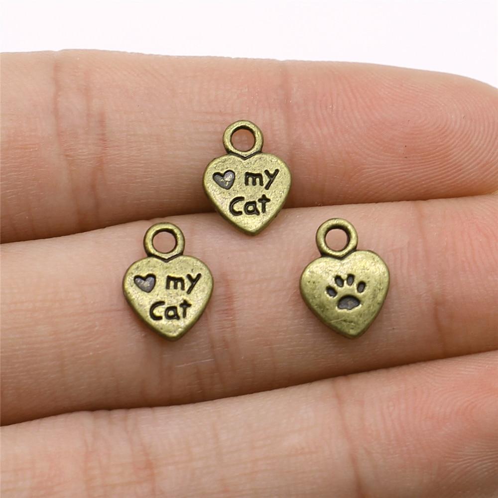 Wysiwyg 20 pçs/lote amor meu gato pata impressão encantos para fazer jóias 8x12mm bronze antigo chapeado acessórios