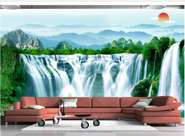 De 3d papel 3d mural de la pared de papel tradicional pintura de paisaje China cascadas de agua generativo papel pintado