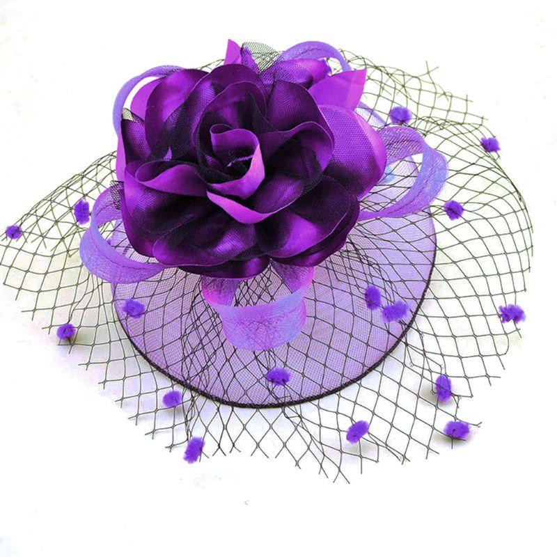 Sombrero de malla de tul para mujer, Clip para el pelo, elegante cinta, flor grande, tocado de felpa, punto ondulado, horquillas nupciales para boda, 17 colores W77