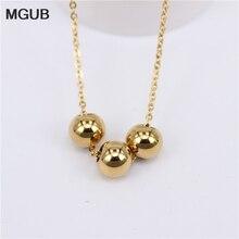 MGUB 2018 nouveau pendentif collier 8 style sélection acier inoxydable activité perles lisses chaîne longueur 50cm Simple