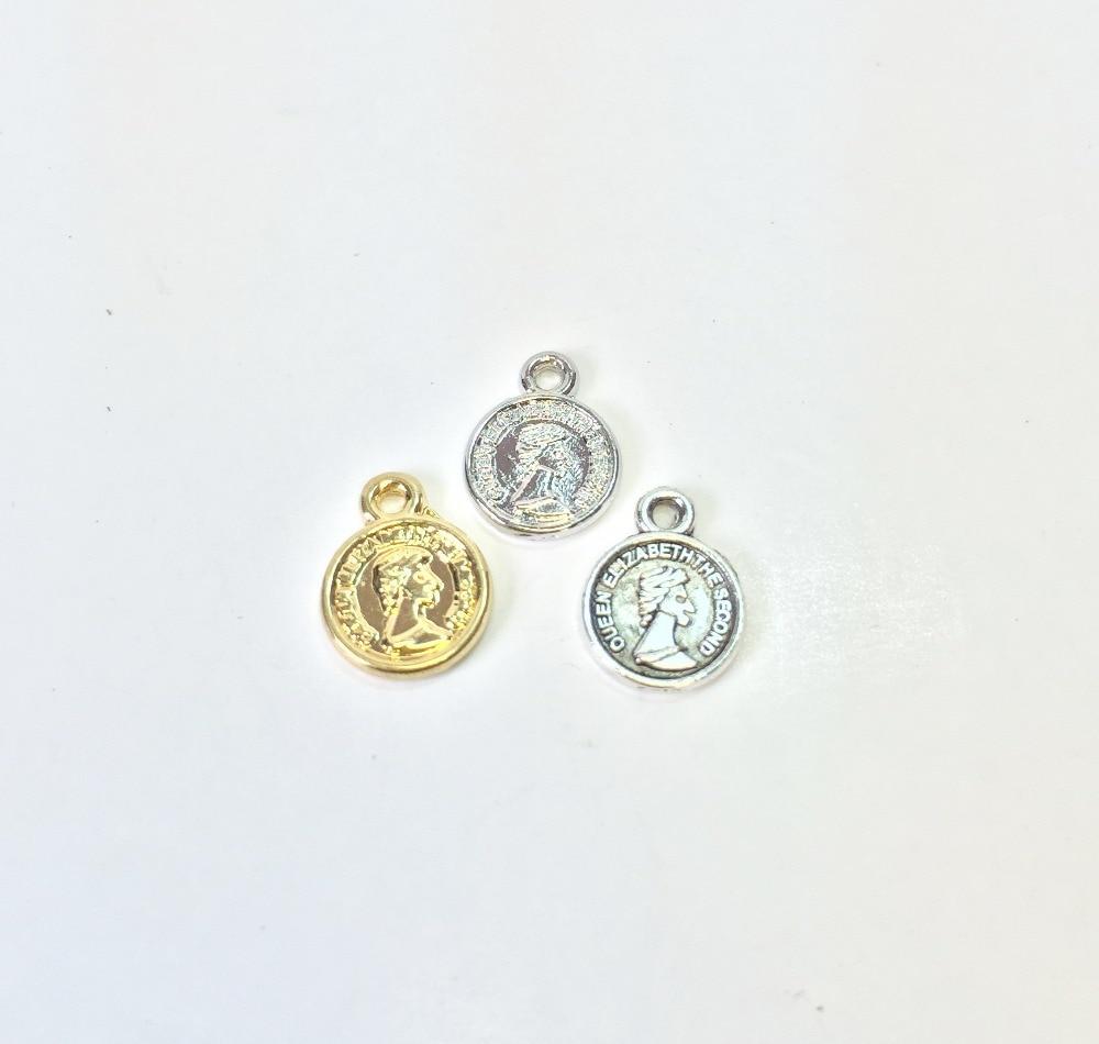 Eruifa popular 8mm pendurado moeda atacado 30 pçs por saco colar, brinco pulseira jóias diy artesanal 2 cores
